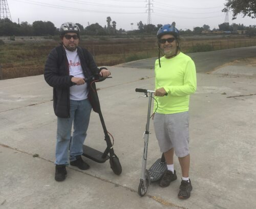 My friend Jorge, also with a Xootr Mg scooter, and his son Chris who'd brought his electric powered scooter.