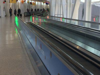 Conveyor belts to walk on at JFK International Airport in New York City.