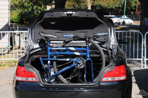 Montague folding bike in the trunk of a car
