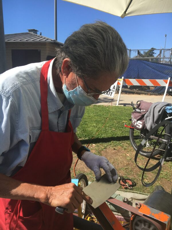 Julio Toruno, 66, who performs a knife sharpening business in sites including the Pasadena Victory Park farmers market, 2925 E Sierra Madre Blvd, Pasadena, CA 91107, every Saturday.