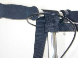 Wider strap over the top of the handlebar and BEHIND the brake.