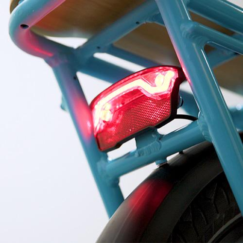 Front and rear light are integrated into the frame and powered by your bike's battery.