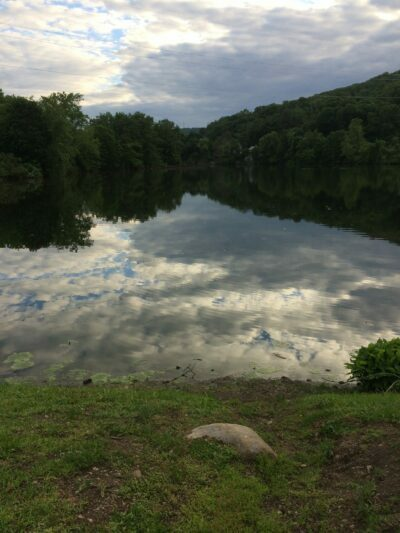 Cloud reflections in Pond in Suffern, New York.