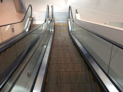 Escalater leading to Jetblue terminal at JFK International Airport in New York City.