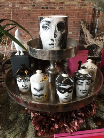 Porcelain jars printed with designs at Arena's.
